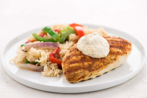 Home Chef Oven Kit Piri Piri Grilled Chicken with Sofrito Crema Rice and Peppers Perspective: top