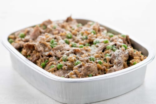 Home Chef Oven Kit Garlic Steak Ancient Grain Risotto with Peas and Parmesan Perspective: top
