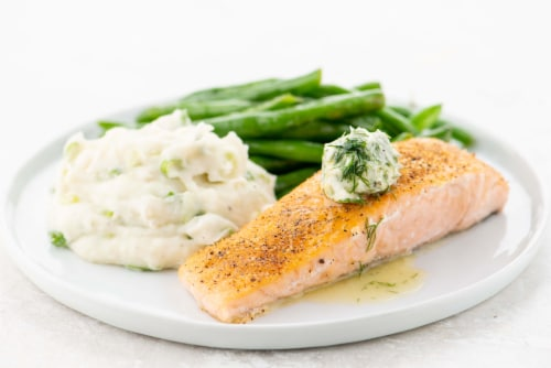 Home Chef Meal Kit Salmon and Dill Butter with Sour Cream and Onion Mashed Potatoes and Green Beans Perspective: top