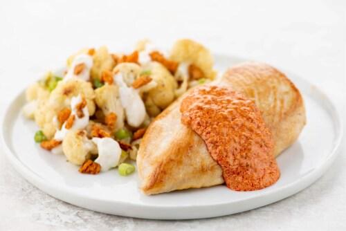 Home Chef Meal Kit Creamy Harissa Chicken with Lemon Garlic Cauliflower Perspective: top
