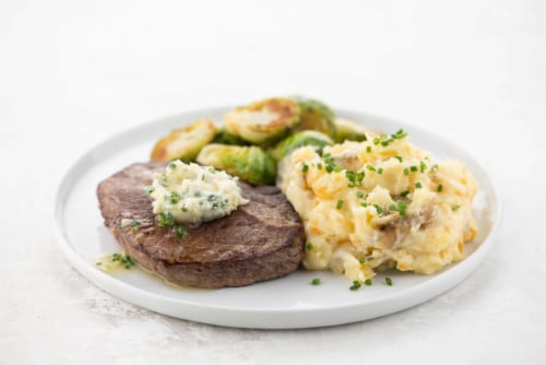 Home Chef Meal Kit Culinary Collection Sirloin Steak and Maitre d'Hotel Butter Perspective: top