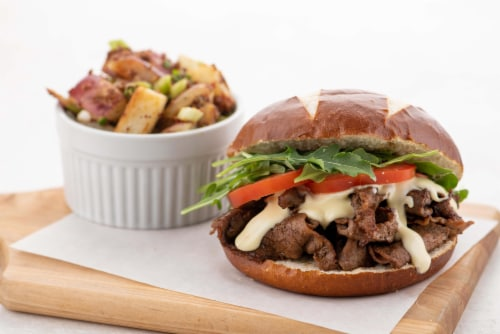 Home Chef Meal Kit Alpine-Style Steak and Gouda Sandwich with Potato Salad Perspective: top