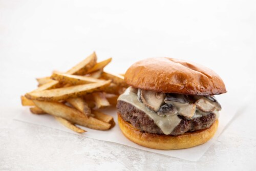 Home Chef Meal Kit Culinary Collection Shiitake Mushroom and Swiss Burger with Truffle Fries Perspective: top