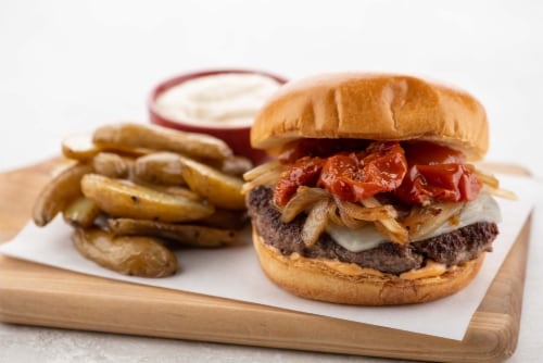 Home Chef Meal Kit Roasted Tomato and Caramelized Onion Burger Perspective: top
