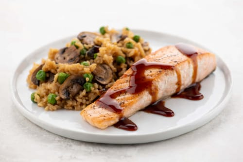 Home Chef Meal Kit Teriyaki Salmon with Mushroom Fried Rice Perspective: top