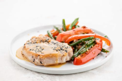 Home Chef Meal Kit Sesame-Crusted Pork Chop Perspective: top