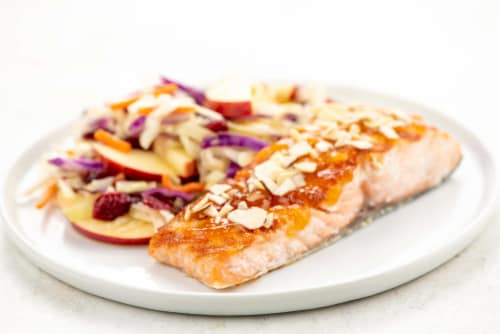 Home Chef Oven Kit Grilled Peach and Almond Glazed Salmon with Cabbage Apple and Cranberry Slaw Perspective: top