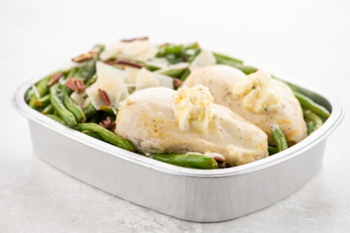 Home Chef Oven Kit Chicken And Truffle Honey Butter With Parmesan Pecan Green Beans Perspective: top