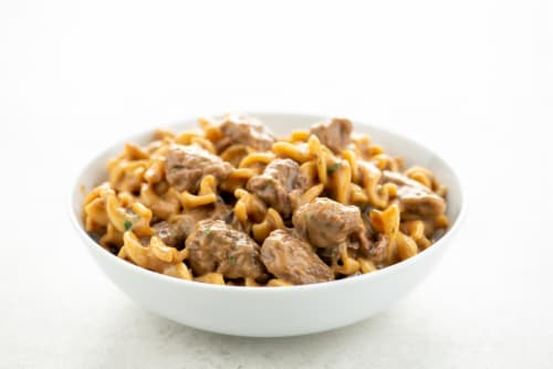 Home Chef Heat & Eat Beef Stroganoff With Egg Noodles Perspective: top