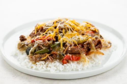 Home Chef Heat & Eat Beef Barbacoa Rice Bowl Perspective: top