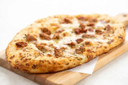 Home Chef Pizza Pork Sausage Alfredo Sicilian Style Pizza Perspective: top