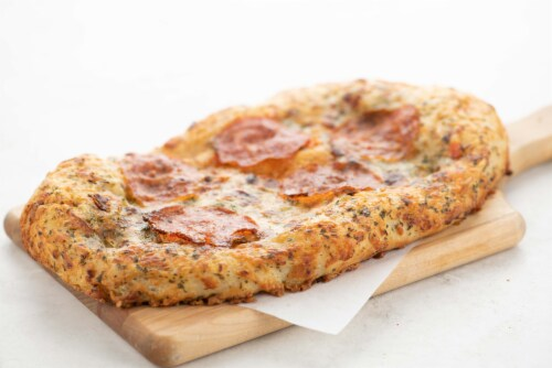 Home Chef Pizza Four Cheese Pepperoni Sicilian Style Pizza Perspective: top
