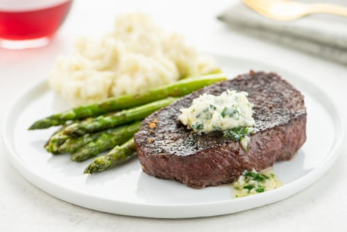 Home Chef Culinary Collection Steakhouse Sirloin With Herb Butter Perspective: top