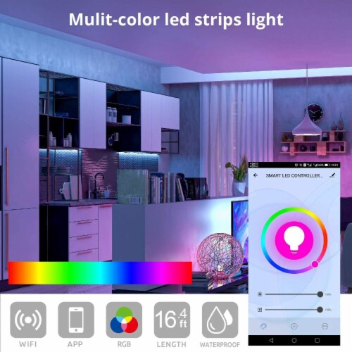 WBM Smart RGB LED Strip Lights, App Controlled for Home & Outdoor Decoration | 16 ft /1 Strip Perspective: top