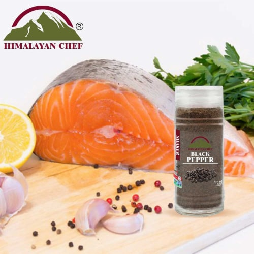 Himalayan Chef Salt & Pepper, Fine Salt, Black Pepper Glass Shaker, Kosher & Vegan – Set of 2 Perspective: top