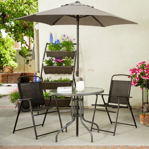 6pcs Dining Set Patio Outdoor Set w/ Table Umbrella 4 Folding Chairs Table Perspective: top