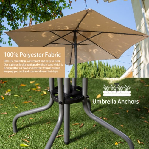 6pcs Outdoor Dining Patio Set with Table Umbrella, 4-Folding Chairs Perspective: top