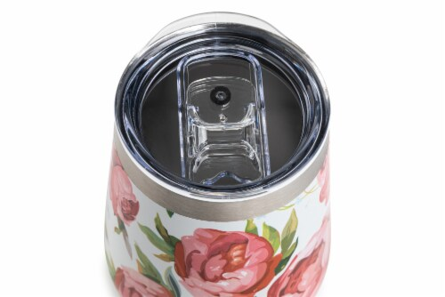 Manna Stemless Insulated Wine Cup - Rose Floral Perspective: top