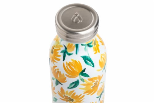 Manna Retro Water Bottle - Yellow Daisy Perspective: top