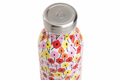 Manna Retro Water Bottle - Pink Floral Perspective: top