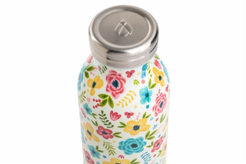 Manna Retro Water Bottle - Blue Floral Perspective: top