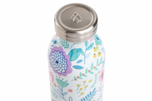 Manna Retro Water Bottle - Lilac Floral Perspective: top