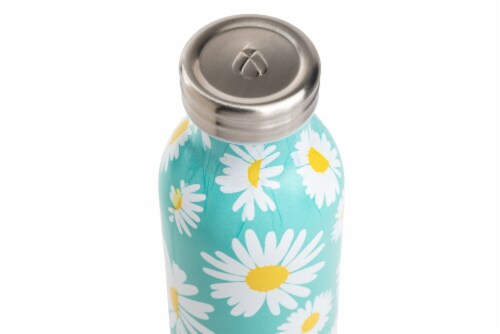 Manna Retro Water Bottle - White Daisy Perspective: top