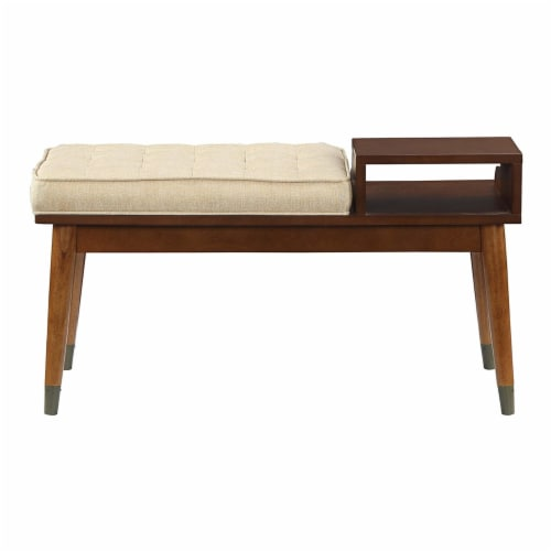 ACME Baptis Bench in Walnut and Fabric Perspective: top