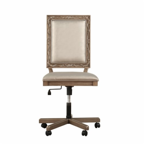Saltoro Sherpi Wooden Executive Office Chair with Leatherette Upholstered Seat and Back, Perspective: top