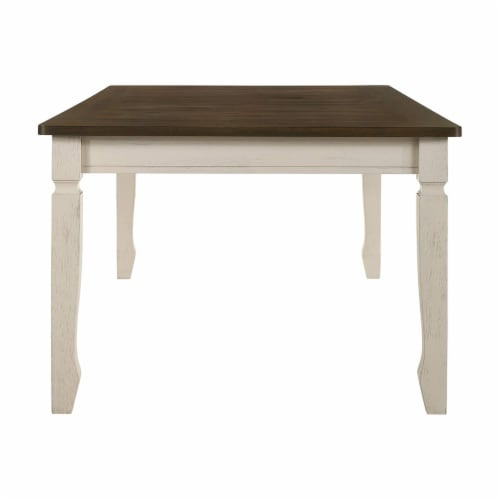 ACME Furniture Fedele Kitchen Dining Table with 2 Storage Drawers, Weathered Oak Perspective: top