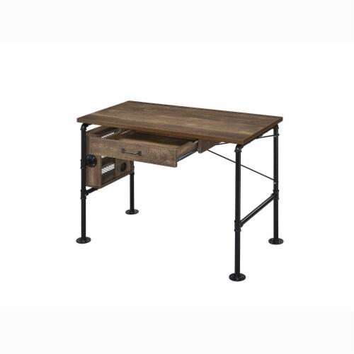 ACME Furniture 92595 Endang Industrial Metal Writing Desk with Drawer, Oak/Black Perspective: top