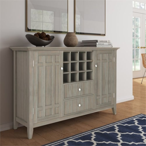 Simpli Home Bedford Wood 54  Transitional Sideboard Buffet and Wine Rack in Gray Perspective: top