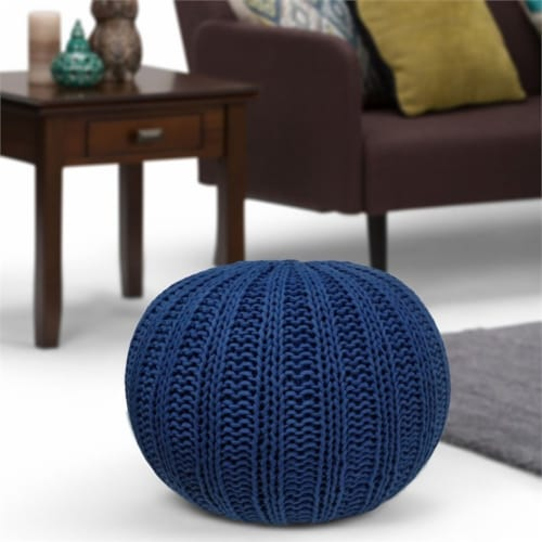 Simpli Home Shelby Boho Round Hand Knit Pouf in Blue Cotton Perspective: top