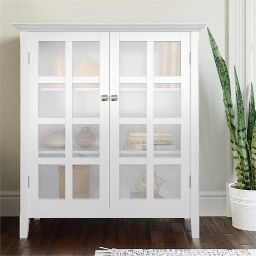 Simpli Home Acadian Solid Wood 39   Transitional Medium Storage Cabinet in White Perspective: top