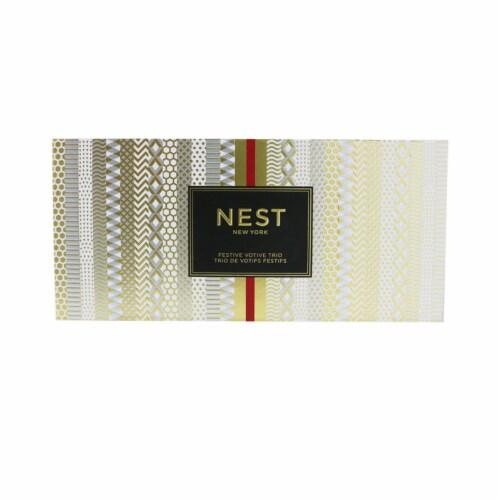 Nest Festive Votive Trio Candles Coffret: Holiday, Birchwood Pine, Blue Cypress & Snow 3x57g/ Perspective: top