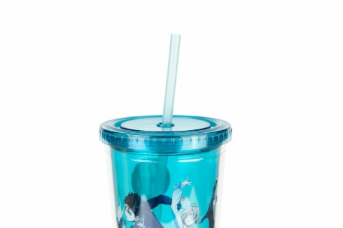 Yuri On Ice Characters Plastic Tumbler Cup With Lid & Straw | Holds 16 Ounces Perspective: top