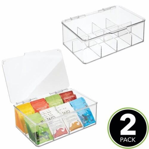 mDesign Stackable Plastic Tea Bag Organizer Kitchen Storage Box, 2 Pack Perspective: top