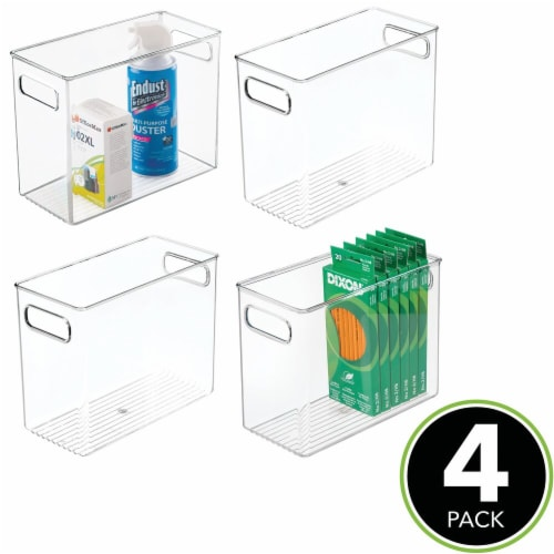 mDesign Plastic Desk Organizer Bin for Home, Office, 4 Pack Perspective: top