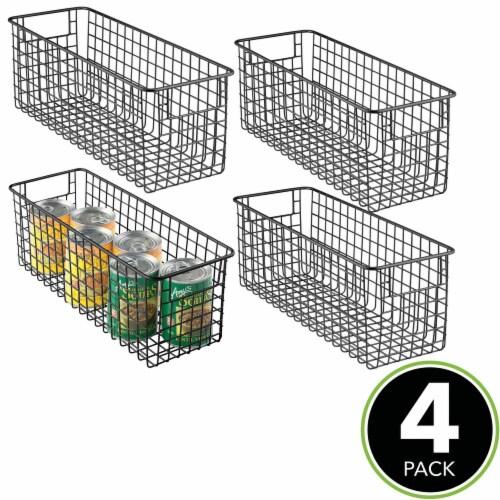 mDesign Metal Wire Food Storage Organizer Bin Perspective: top