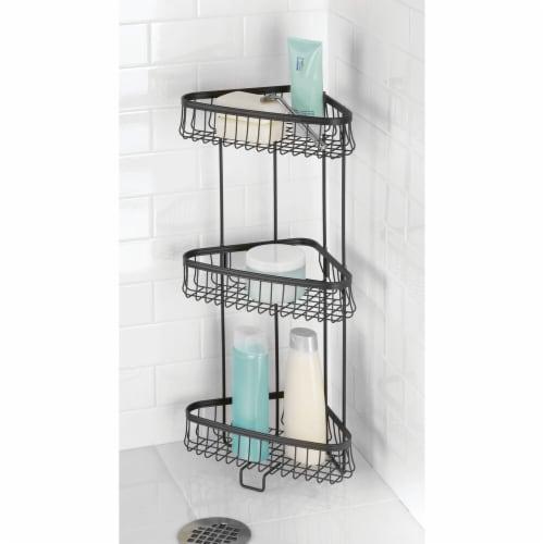 mDesign Metal 3-Tier Vertical Corner Shelf Unit for Bathroom Storage - Black Perspective: top