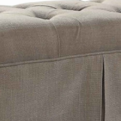 Saltoro Sherpi Rectangular Button Tufted Fabric Upholstered Bench With Storage, Brown Perspective: top