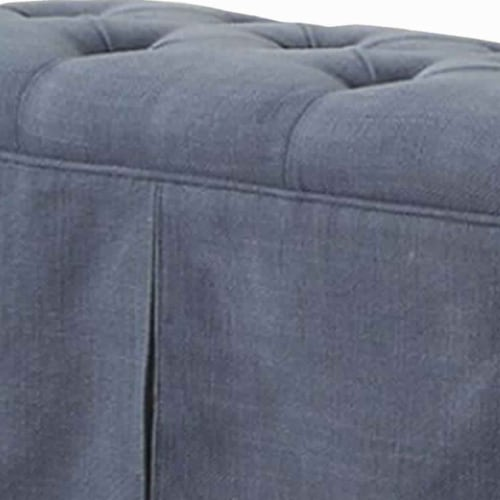 Saltoro Sherpi Rectangular Button Tufted Fabric Upholstered Bench With Storage, Blue Perspective: top