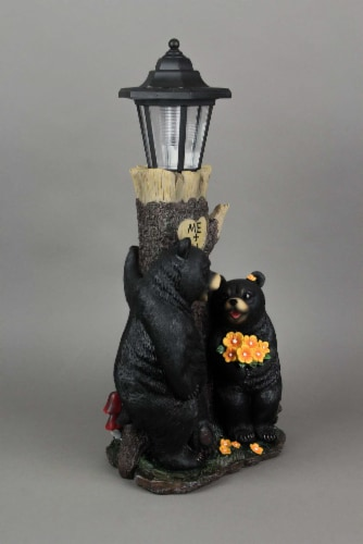 Bear First Date Solar LED Lantern Statue Outdoor Decorative Garden Light Figure Perspective: top