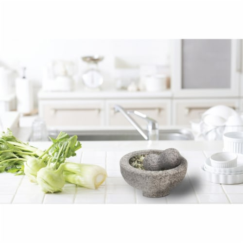 HealthSmart 8 Inch ranite Molcajete Set a Stylish Yet Durable Mortar  Pestle Set Perspective: top