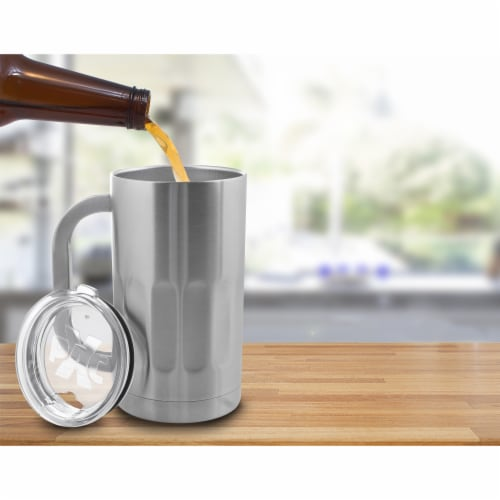 20OZ BEER MUG DOUBLE WALL W/LID Perspective: top