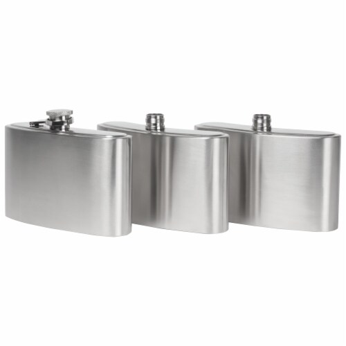 Maxam Three Flasks in One for a Fun Variety of Liquor Stainless Steel 3-24 Ounce Flasks Perspective: top