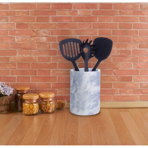 HealthSmart Marble Kitchen Utensil Holder 5 X 7 Inches Gray and White Perspective: top