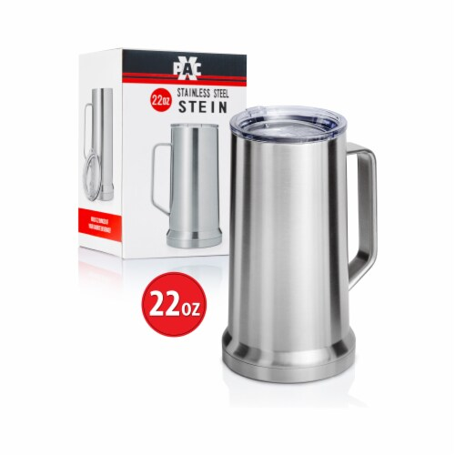 22 Ounce Beer Mug with Lid and Handle, Stainless Steel, Vacuum Insulated Stein Perspective: top