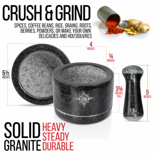 Health Smart Mortar and Pestle Set - Dual Sided/Flip Solid Granite Bowl for Grinding Seeds Perspective: top