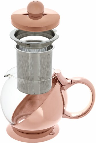 Pinky Up Shelby Wrapped Teapot and Infuser - Rose Gold Perspective: top